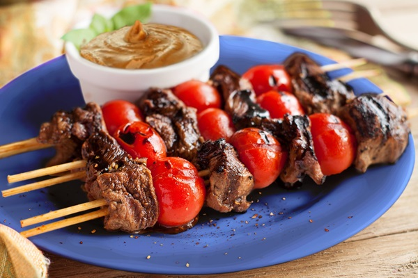 recipe image Grilled Beef Mishkaki with Blue Band Peanut Butter Sauce